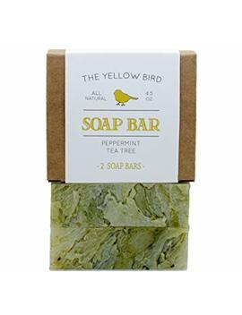 Peppermint Tea Tree Soap (2 Bar Pack). Natural Cleansing Bar Soap With Antifungal, Antibacterial Essential Oils. Body & Facial Soap. Handmade In Usa With Organic And Vegan Ingredients. by The Yellow Bird