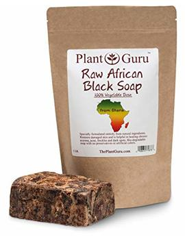 Raw African Black Soap 1 Lb / 16 Oz Imported From Ghana   100 Percents Natural Acne Treatment, Aids Against Eczema & Psoriasis, Dry Skin, Scar Removal, Pimples And Blackhead, Face & Body Wash by Plant Guru