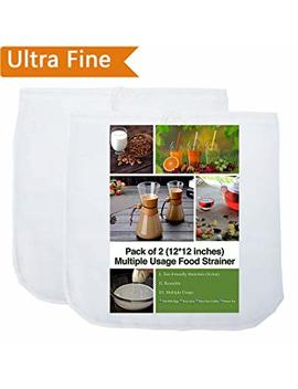 """2 Pack   80 Micron Nut Milk Bag   12""""X12""""   Multiple Usage Reusable Food Strainer, Cold Brew Coffee Bag Cheesecloth, Food Grade Nylon Mesh, Filter For Almond/Soy Milk, Fruit Juice, Coffee And Tea by I Aesthete"""