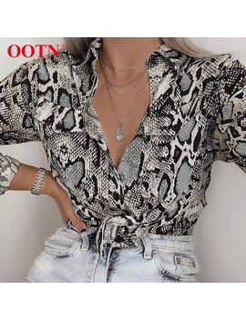 Ootn Sexy Snake Skin Print Blouses And Tops Female Shirt Womens Long Sleeve 2018 Autumn Blusas Pocket Button Down Vintage Blouse by Ootn