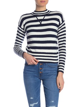 Striped Mock Neck Relaxed Fit Sweater by Madewell