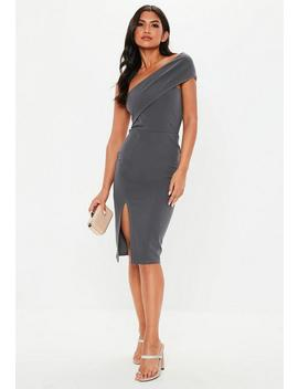 Grey One Shoulder Midi Dress by Missguided