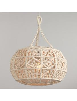 Ivory Macrame Sphere Pendant Lamp by World Market