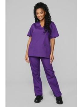 Miracle Worker Classic Scrub Set   Eggplant by Fashion Nova