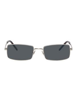 Silver Narrow Rectangular Sunglasses by Saint Laurent