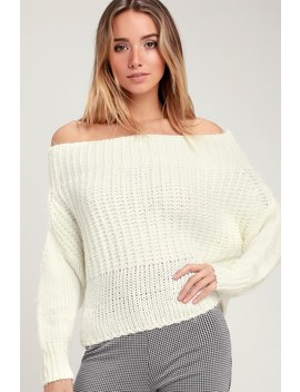 Shapiro Ivory Eyelash Knit Off The Shoulder Sweater Top by Lulu's