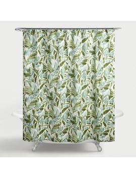 Aqua And Ivory Tropical Palma Shower Curtain by World Market