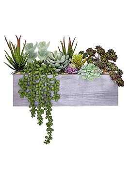Supla Artificial Pre Made Succulent Wood Planter Arrangement 10 Pcs Assorted Fake Succulent Plants In Rectangular Wooden Planter Box Faux Potted Succulents Centerpiece Succulent Garden by Supla
