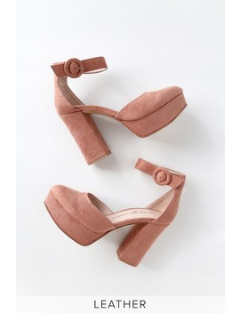 Norie Dusty Rose Suede Leather Platform Heels by Chinese Laundry