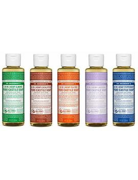 Dr. Bronner's 4 Oz. Sampler  5 Piece Gift Set. (5) 4 Oz. Castile Liquid Soaps In Almond, Eucalyptus, Tea Tree, Lavender, And Peppermint by Dr. Bronner's
