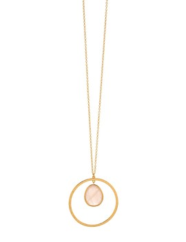 Logan 18 K Yellow Gold Suspended Rose Quartz Circle Pendant Necklace by Gorjana