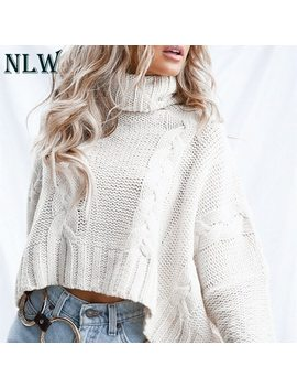 Nlw Long Sleeve Turtleneck Crop Sweater 2018 Autumn Winter Thick Solid Harajuku Oversized Pullover White Kintted Jumper Tops by Nlw