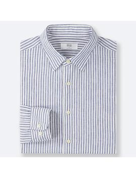 Men Premium Linen Striped Shirt (Regular Collar) by Uniqlo
