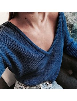 2018 Spring Autumn Sweaters Women Sexy Off Shoulder Deep V Neck Sweater Loose Knitted Sweater Loog Sleeve Crop Tops 6 Q2297 by Naiveroo