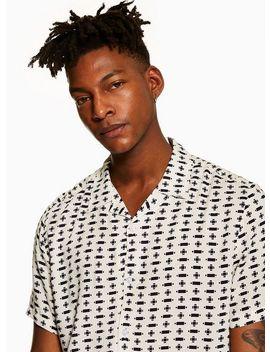 White Geometric Print Revere Shirt by Topman