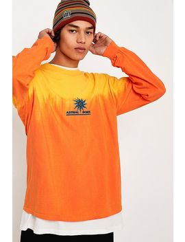 Uo Solaris Orange Dip Dye Long Sleeve T Shirt by Urban Outfitters
