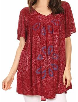 Sakkas Talulla Long V Neck Batik Floral Leaf Embroidered Printed Blouse Shirt Top by Sakkas