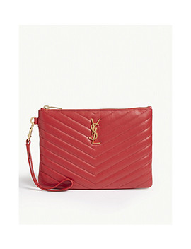 Monogram Logo Quilted Leather Pouch by Saint Laurent