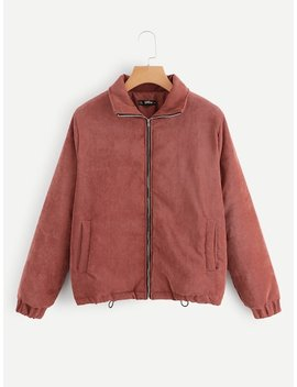 Zip Up Corduroy Jacket by Shein