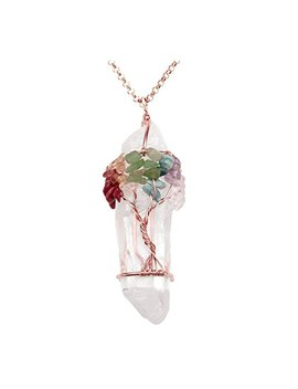 Jovivi Chakra Gemstone Tree Of Life Wire Wrapped Natural Clear Quartz Healing Crystal Point Pendant Necklace by Jovivi