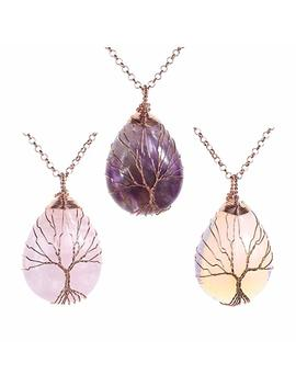 Jovivi Vintage Tree Of Life Wire Wrapped Copper Teardrop Natural Gemstones Pendant Necklace, With Gift Bag by Jovivi