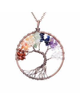 Sedmart Tree Of Life Pendant Amethyst Rose Crystal Necklace Gemstone Chakra Jewelry by Sedmart