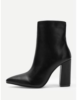 Point Toe Side Zipper Boots by Sheinside