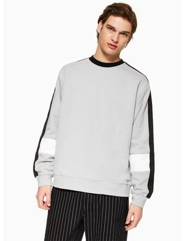 Black, Grey And White Panelled Sweatshirt by Topman