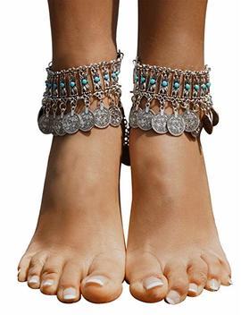 Bienvenu Hot Boho Silver Coin Anklet Bracelet Bohemian Tassel Barefoot Sandals Chain Jewelry by Bienvenu