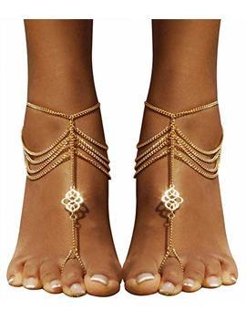 Bienvenu 2 Pcs Multi Chain Beach Tassels Anklet Chain Bracelet Barefoot Sandals Foot Jewelry by Bienvenu