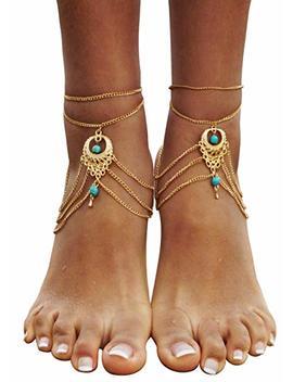 Bienvenu 2 Pcs Barefoot Sandals Beach Foot Jewelry Turquoise Jewelry Anklet Chain Arm Chain Tassel by Bienvenu