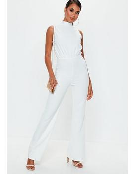 White High Neck Wide Leg Jumpsuit by Missguided