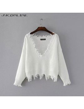 Jy Conline Sexy Knitted Sweater Women Jumper Black White V Neck Ripped Pullover Sweater Pull Femme Oversized Sweater Knitwear Top by Jyconline