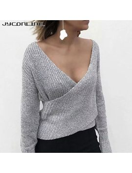 Jy Conline Winter Sexy Off Shoulder Deep V Neck Knitting Sweater Women Pullover Female Jumper Casual Christmas Sweater Pull Femme by Jyconline