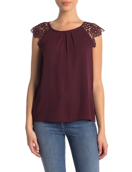 Lace Cap Sleeve Blouse (Petite) by Philosophy Apparel
