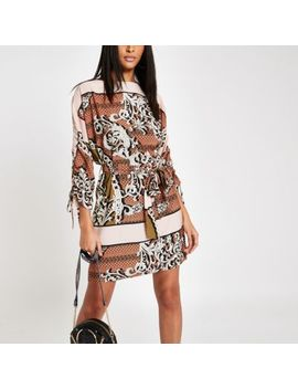 Brown Chain Print Tie Waist Swing Dress by River Island