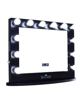 Reign Charm Hollywood Vanity Mirror With Bluetooth Speakers, 12 Led Lights, Dual Outlets & Usb, 32 Inches X 27 Inches, Matte Black by Reign Charm