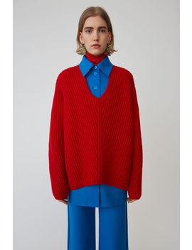 Pullover Mit Tiefem V Ausschnitt Rot by Acne Studios