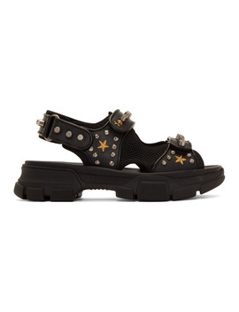 Black Studded Aguru Sandals by Gucci