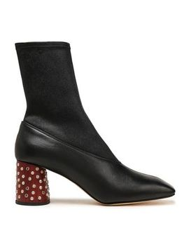 Embellished Leather Ankle Boots by Helmut Lang