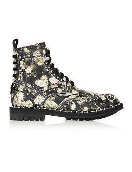 Ankle Boots In Multicolored Floral Print Textured Leather by Givenchy
