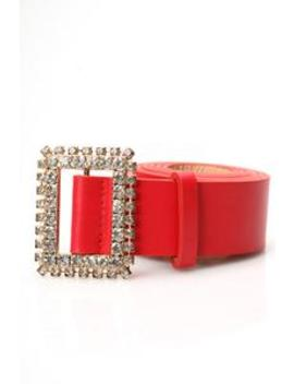 I Square Rhinestone Belt   Red by Fashion Nova