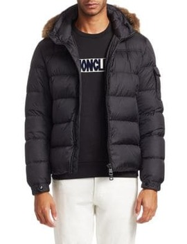 Coyote Fur Trim Down Jacket by Moncler