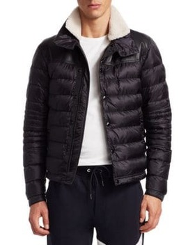 Vasserot Lamb Shearling Collar Down Puffer Jacket by Moncler