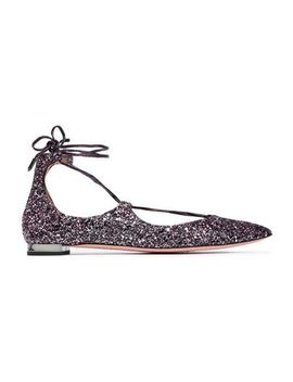Lace Up Glittered Leather Point Toe Flats by Aquazzura