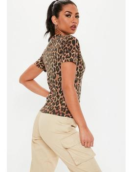 Brown Leopard Print Sassy Slogan T Shirt by Missguided