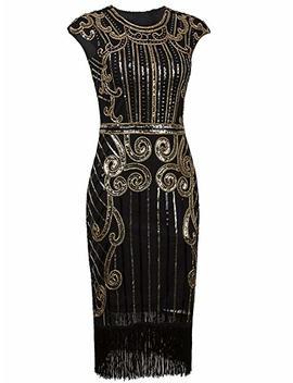 Vijiv 1920s Vintage Inspired Sequin Embellished Fringe Long Gatsby Flapper Dress by Vijiv