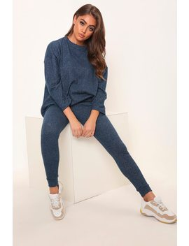 Navy Oversized Soft Touch Loungewear Set by I Saw It First