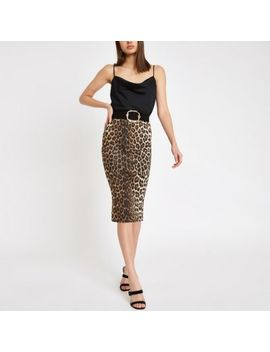 Brown Leopard Print Pencil Skirt by River Island
