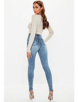 Blue Sinner Vintage Wash Distressed Knee High Waisted Skinny Jeans by Missguided